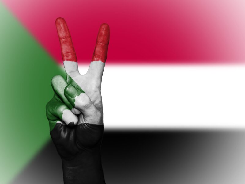 A hand held in a peace sign over the Sudanese flag.
