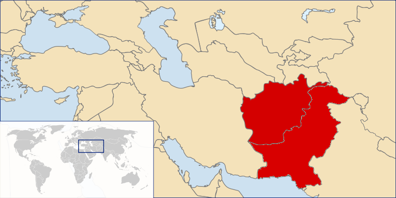 A map of the Middle East. Afghanistan and Pakistan are highlighted in red.