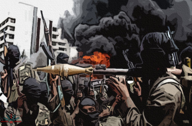 A crowd of Boko Haram insurgents in black hoods and military greens bristles with weapons, including a prominent bazooka in the middle of the shot. It's stylized, likely a mural of some kind. Black smoke billows from the right.