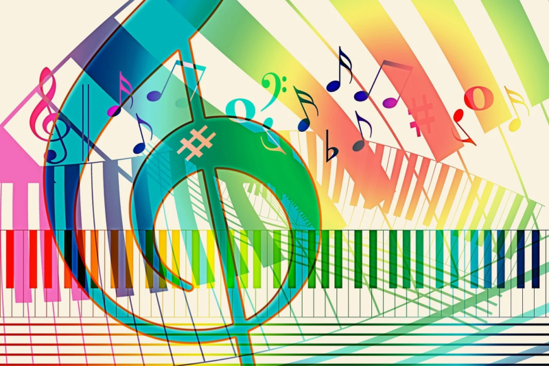 Rainbow-hued piano keys, treble clefs, and music notes on a beige background.