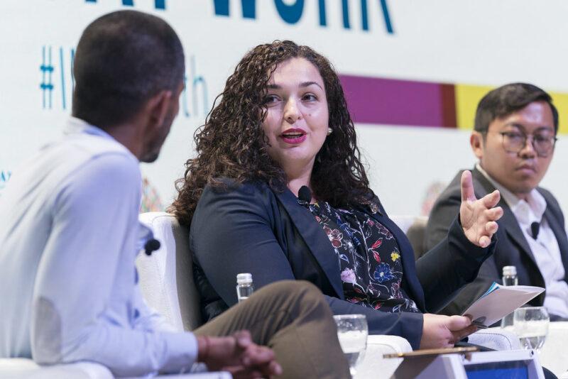 Vjosa Osmani at the AM18 Youth At Work seminar.