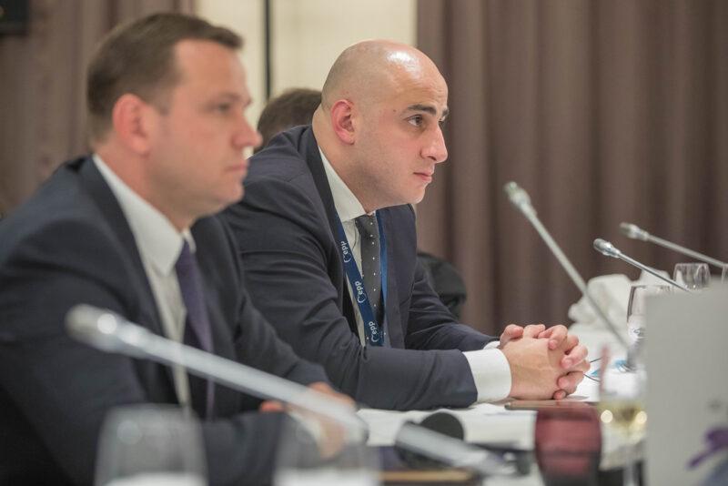 Nika Melia (in focus) at the 2017 European People's Party Eastern Partnership Leader's Meeting