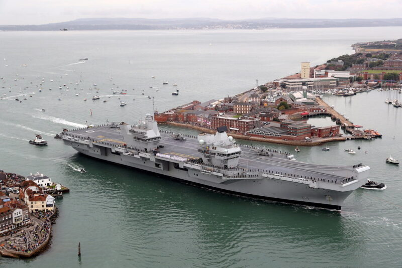 The HMS Queen Elizabeth aircraft carrier at her home port in Portsmouth.