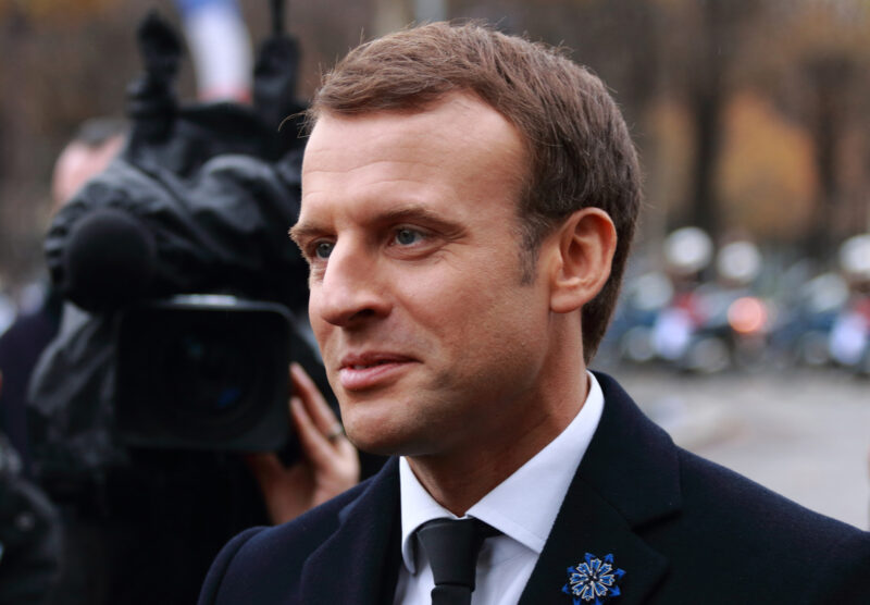Emmanuel Macron at a 2017 Rememberance Ceremony in Paris. He wears a traditional blue cornflower on his lapel.